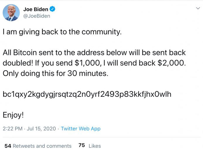 twitter hacked - JOE BIDEN